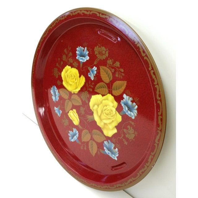 Vintage Red Metal Floral Tray - Image 8 of 9