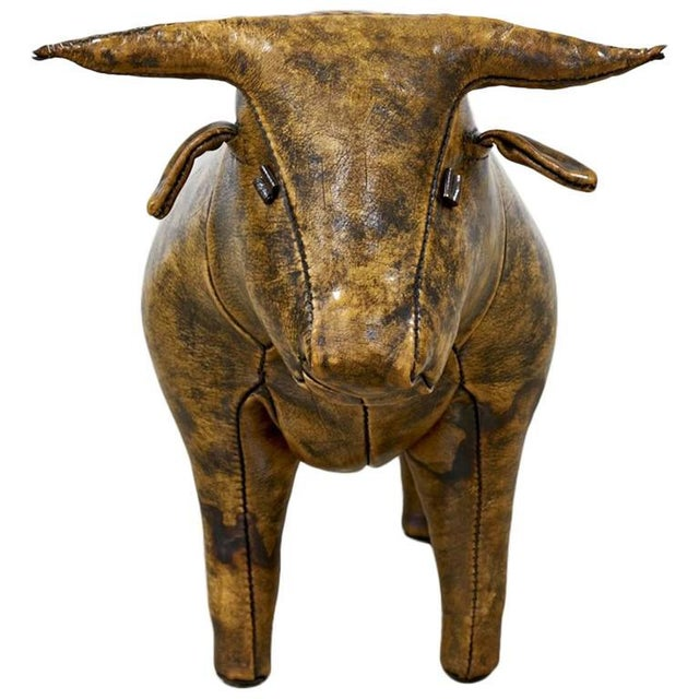 Brown Abercrombie and Fitch Leather Bull Ottoman by Omersa, 1960s For Sale - Image 8 of 8