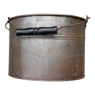 Copper Pail, Steel Wire and Painted Wood Handle, 19th Century For Sale