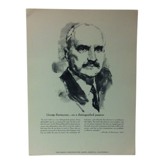 """1962 """"George Santayana - on a Distinguished Passion"""" The Rand Corporation Famous People in History Print For Sale"""