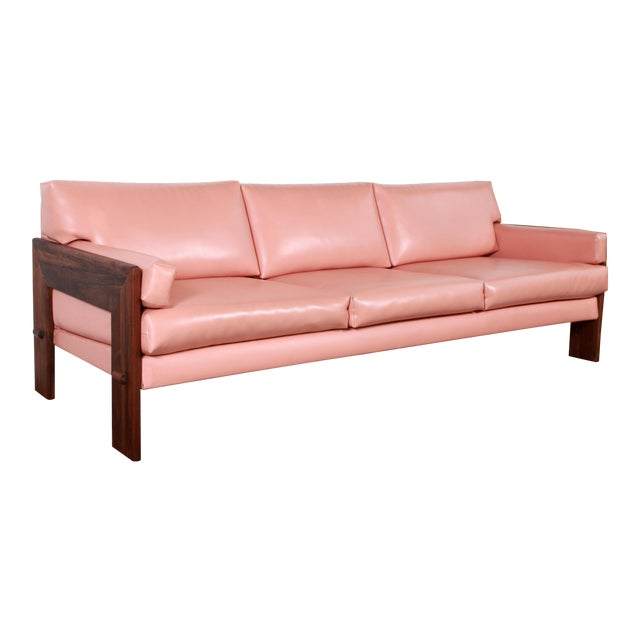 Mid Century Modern Adrian Pearsall for Craft Associates Pink Vinyl & Walnut Sofa For Sale