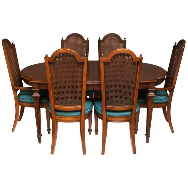 C. 1960s Vintage Hepplewhite Dining Table & Chairs- 7 Pieces For Sale - Image 12 of 13