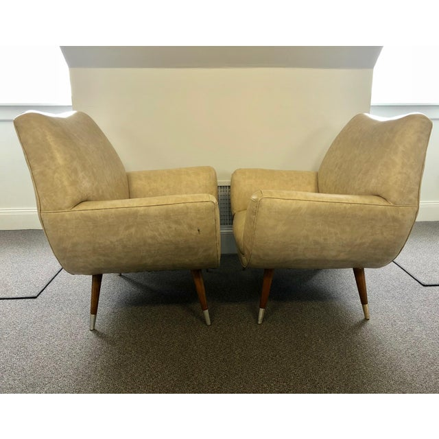 Mid-Century Club Chairs - A Pair For Sale - Image 4 of 10
