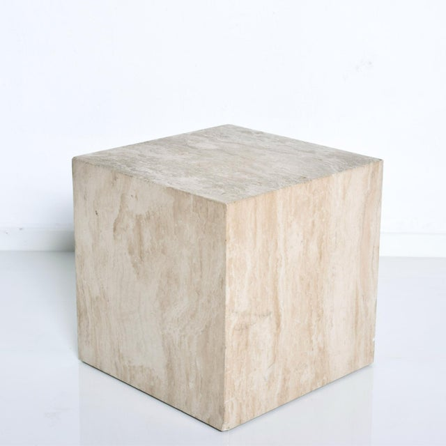 1980s Mid-Century Modern Travertine Cube Side Table For Sale - Image 5 of 9
