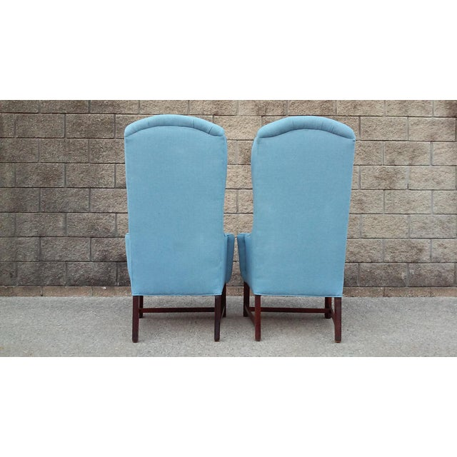 Mid-Century Modern Mid Century High Back Wing Arm Chairs-A Pair For Sale - Image 3 of 6