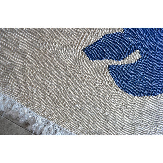 Henri Matisse - Blue Nude 3- Inspired Silk Hand Woven Area - Wall Rug 4′4″ × 6′9″ For Sale - Image 9 of 12