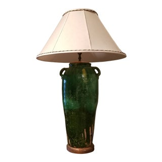Large Green Ceramic Lamp For Sale