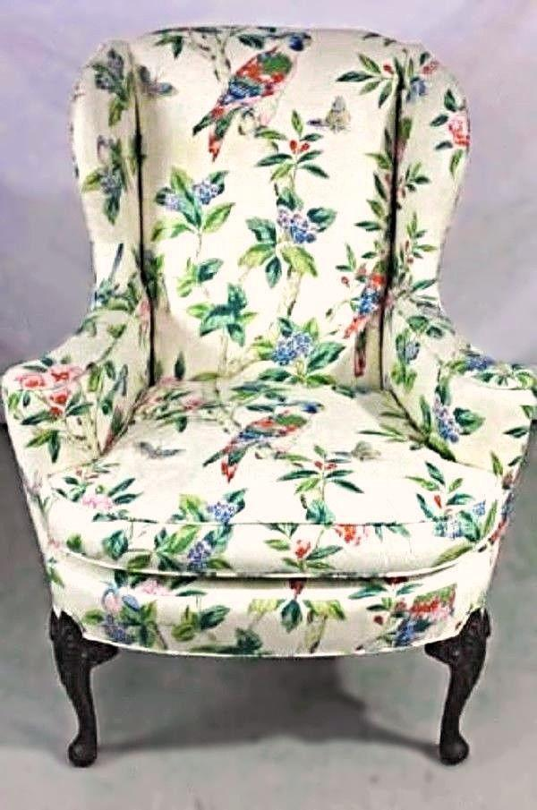 Parrot Motif Upholstered Wingback Armchair For Sale   Image 10 Of 10