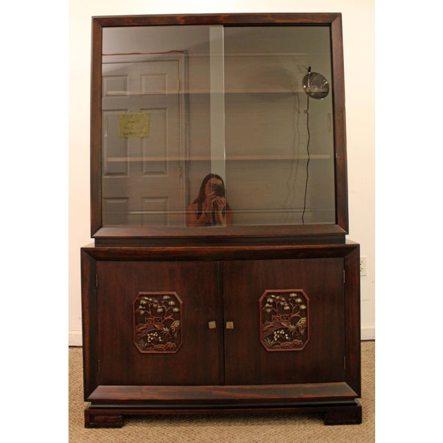 Mid 20th Century James Mont Mid-Century Asian Ming-Style Mahogany Display/China Cabinet For Sale - Image 5 of 11