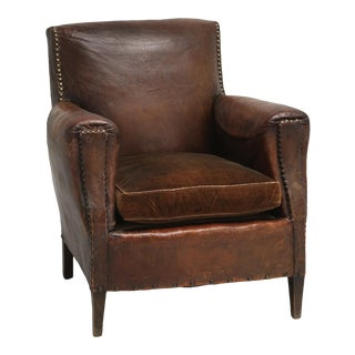 Art Deco Vintage Leather Club Chair All Original For Sale