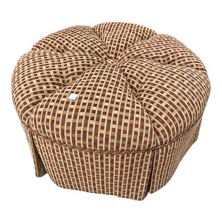 1970s Tufted Skirted Ottoman Pouf For Sale
