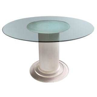Post Modern Lucite Column-Base Dining Table With Glass Top For Sale