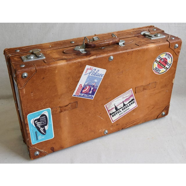 Tan 1940s Tanned Leather Suitcase Luggage With Travel Stickers For Sale - Image 8 of 9