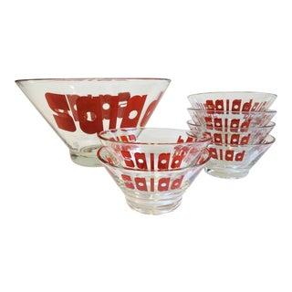 Mid-Century Glass Salad Bowl Set - Set of 7