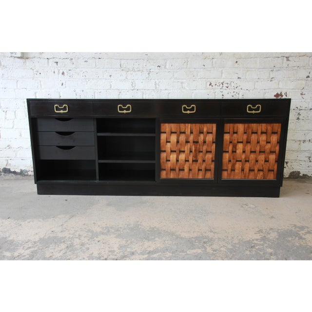 Black Edward Wormley for Dunbar Woven Front Sideboard Credenza For Sale - Image 8 of 13