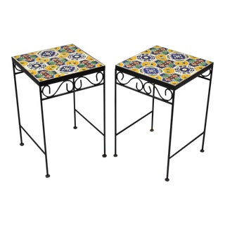 California Style 9 Tile Yellow Blue Green Wrought Iron Side Tables - a Pair