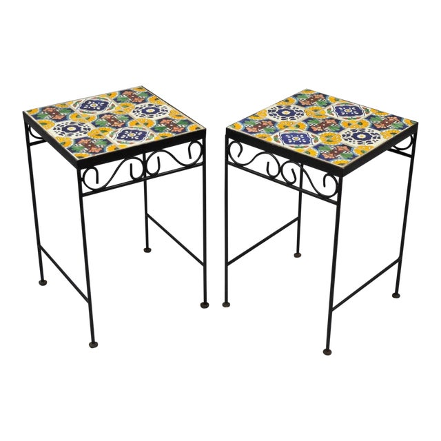 California Style 9 Tile Yellow Blue Green Wrought Iron Side Tables - a Pair - Image 1 of 11