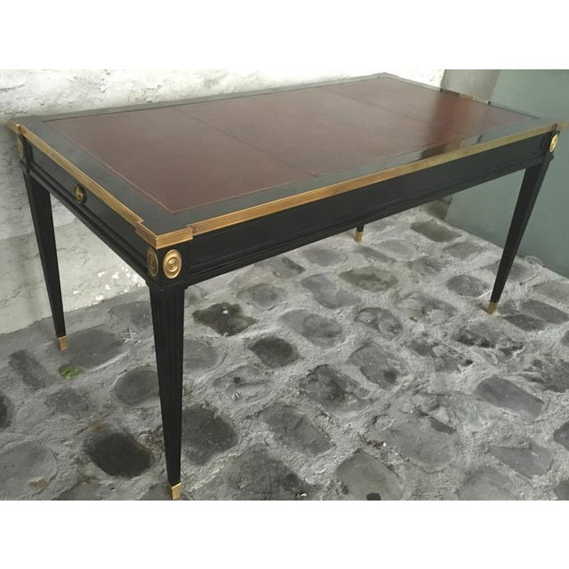 Maison Jansen chicest slender desk with side drawers and gold bronze adorn.