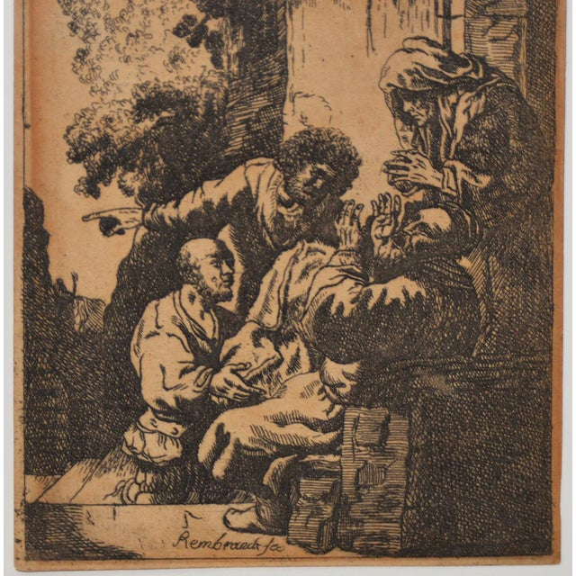 """Religious """"Joseph's Coat Brought to Jacob"""" After Rembrandt Etching in Reverse 18th to 19th C. For Sale - Image 3 of 6"""