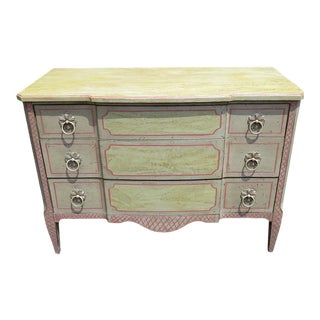 Country French Distressed Painted Commode For Sale