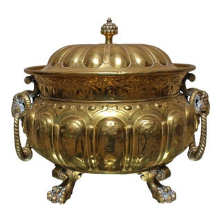 Large 19th Century French Bronze Louis XVI Style Jardiniere with Lid For Sale