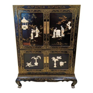 Vintage Chinoiserie Black Lacquered and Carved Stone Armoire Cabinet For Sale