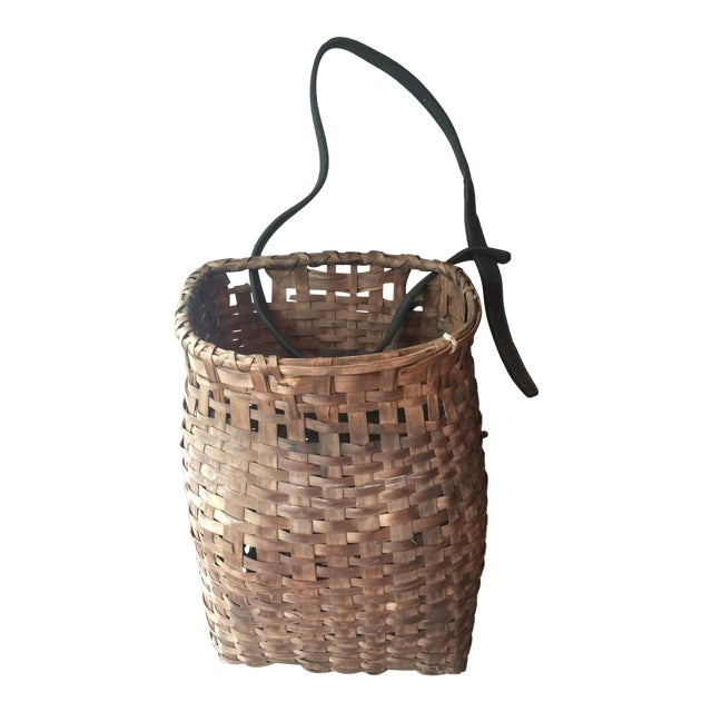 1950s Minimalism Leather and Wicker Picker's Basket For Sale