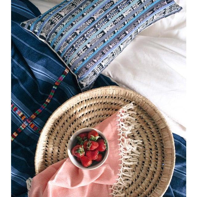 Vintage Guatemalan Cyan Ikat Pillow - Image 4 of 5