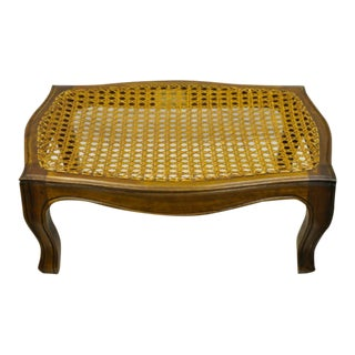 Italian Provincial French Country Louis XV Cane Footstool For Sale