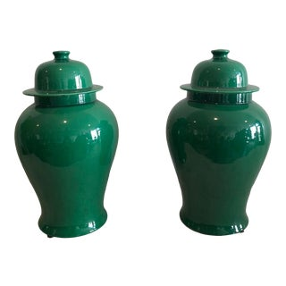 Emerald Temple Jars - A Pair For Sale