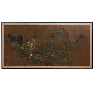 Japanese Four Panel Landscape Byobu Screen For Sale