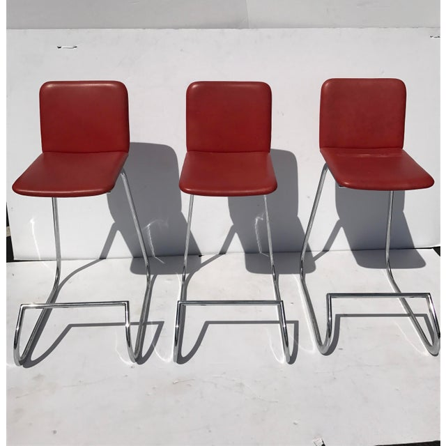 Stendig Metal & Faux Leather Bar Stools- Set of 3 - Image 2 of 7