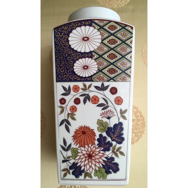 Asian Vintage Flower Plaid Art Design Vase For Sale - Image 3 of 10
