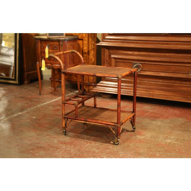 Early 20th Century French Patinated Bamboo Two-Tier Bar Cart For Sale - Image 4 of 9