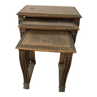 Renaissance Revival Carved Wood Nesting Tables - Set of 3 For Sale