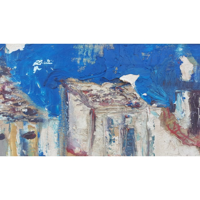 1950's Technique Palette Impasto Cubist Abstract Oil on Canvas Painting For Sale - Image 4 of 10