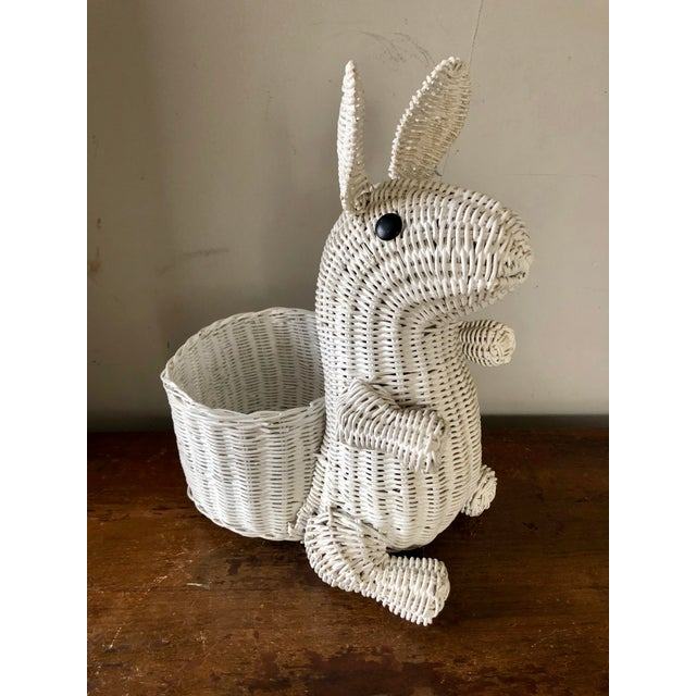 Vintage White Wicker Bunny Planter For Sale In Buffalo - Image 6 of 6