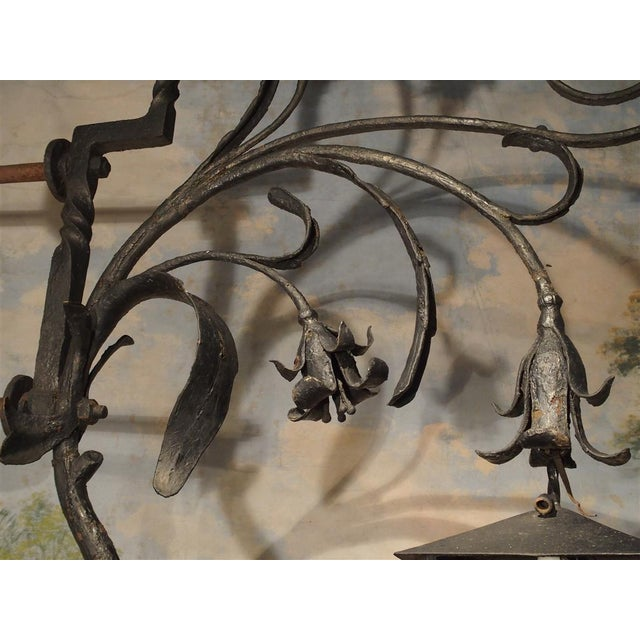 Black Massive Circa 1700 Forged Iron Lantern Holder From a Castle in Wallonia Belgium For Sale - Image 8 of 12