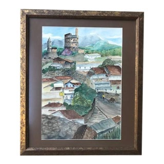 Mid 20th Century Rustic European Village Watercolor Painting, Framed For Sale