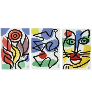 Set of Three Post Modern Celestino Piatti Ceramic Art Tiles For Sale