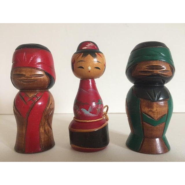 Vintage Mid-Century Japanese Wooden Kokeshi Dolls - Set of 3 - Image 2 of 9