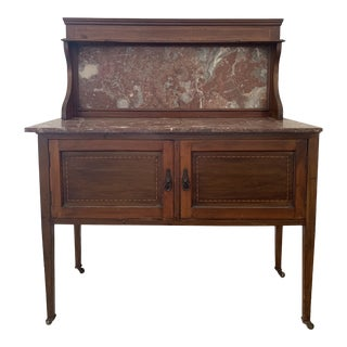 Marble & Wood Cabinet For Sale