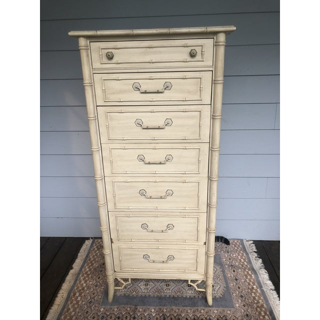 1970s Vintage Faux Bamboo Thomasville Allegro Lingerie Chest For Sale - Image 5 of 8
