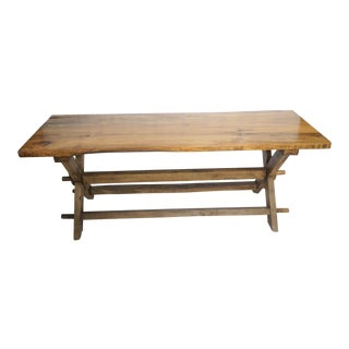 Live Edge Rustic Solid Slab Farm Dining Table For Sale