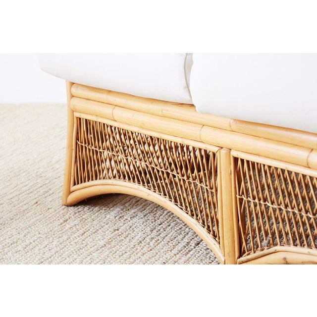 Midcentury Bamboo Rattan Wicker Settee or Loveseat For Sale - Image 9 of 13