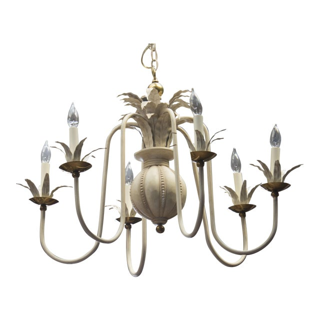 1960's White Wash Iron and Brass 6 Arm Chandelier - Image 1 of 9