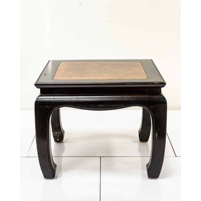 Vintage 1960s chinoiserie style side table. Black lacquer and matched burled inlay top. Super chic.