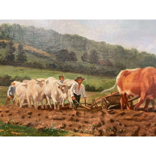 """Mid-19th Century French Oil on Canvas Cows Painting """"Plowing in Nivernais"""" For Sale - Image 10 of 13"""