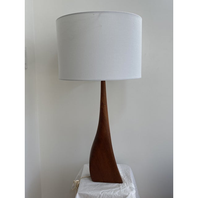 Contemporary Sculptural Teak Table Lamp in the Style of Ernst Henriksen For Sale - Image 3 of 13