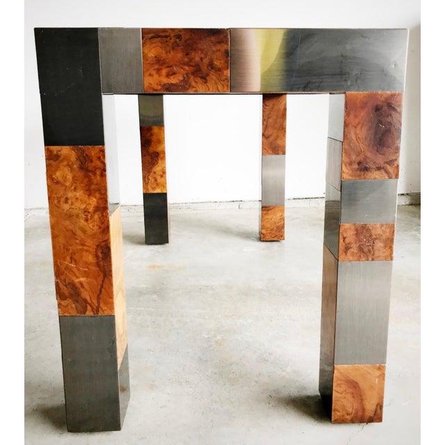 "Burlwood Paul Evans Signed Original ""Cityscape"" Desk in Burl Walnut & Chrome For Sale - Image 7 of 11"